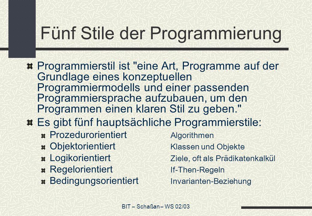 BIT – Schaßan – WS 02/03 Fünf Stile der Programmierung Programmierstil ist eine Art, Programme auf der Grundlage eines konzeptuellen Programmiermodells und einer passenden Programmiersprache aufzubauen, um den Programmen einen klaren Stil zu geben. Es gibt fünf hauptsächliche Programmierstile: Prozedurorientiert Algorithmen Objektorientiert Klassen und Objekte Logikorientiert Ziele, oft als Prädikatenkalkül Regelorientiert If-Then-Regeln Bedingungsorientiert Invarianten-Beziehung