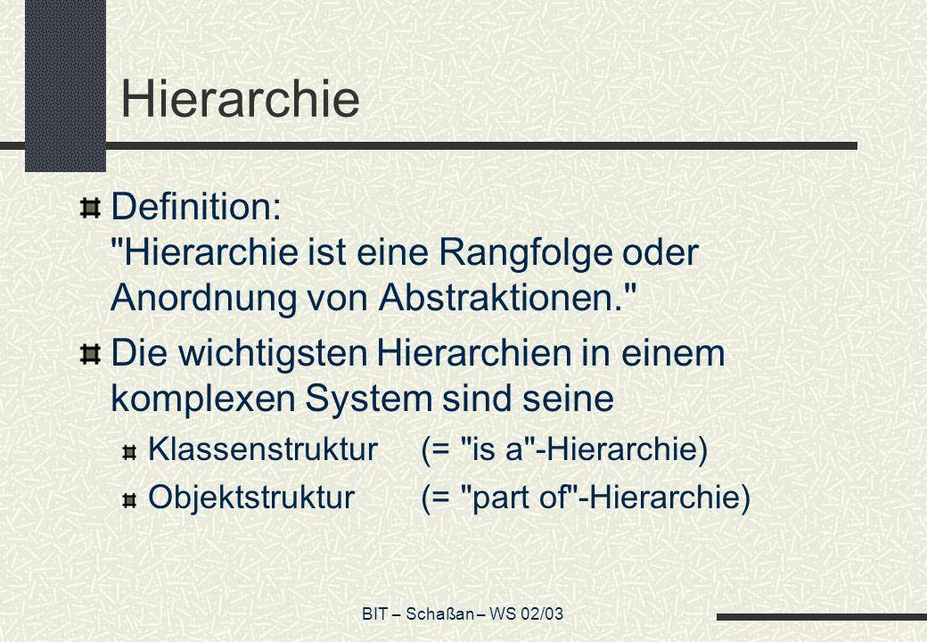 BIT – Schaßan – WS 02/03 Hierarchie Definition: Hierarchie ist eine Rangfolge oder Anordnung von Abstraktionen. Die wichtigsten Hierarchien in einem komplexen System sind seine Klassenstruktur(= is a -Hierarchie) Objektstruktur(= part of -Hierarchie)