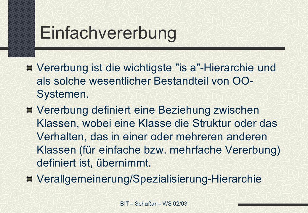 BIT – Schaßan – WS 02/03 Einfachvererbung Vererbung ist die wichtigste is a -Hierarchie und als solche wesentlicher Bestandteil von OO- Systemen.