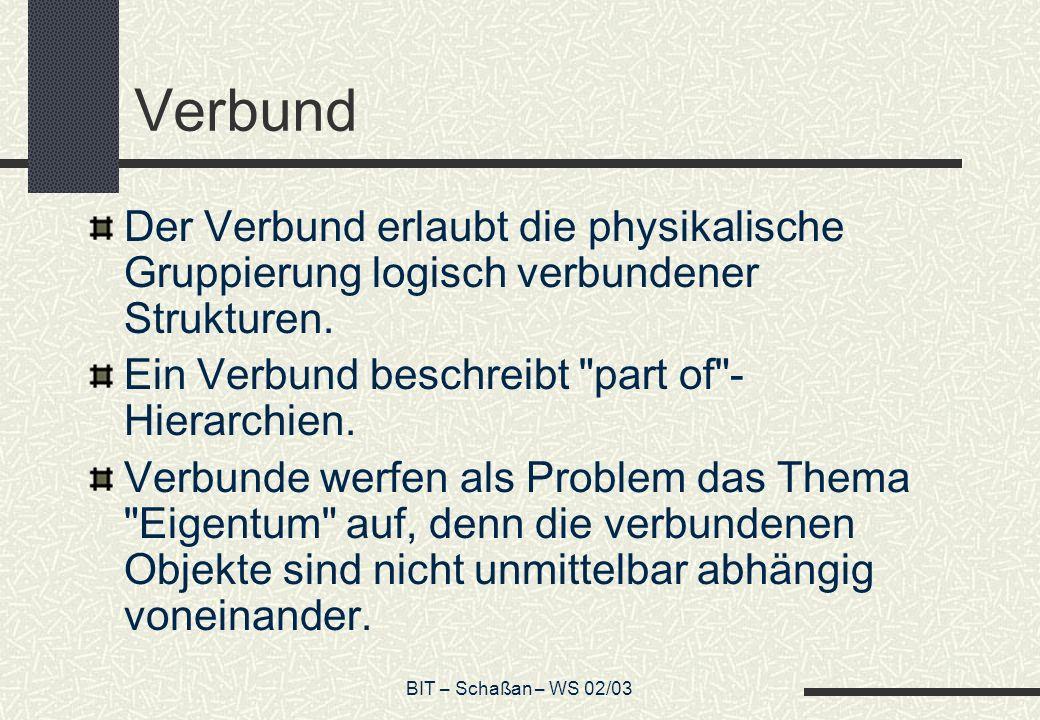 BIT – Schaßan – WS 02/03 Verbund Der Verbund erlaubt die physikalische Gruppierung logisch verbundener Strukturen.