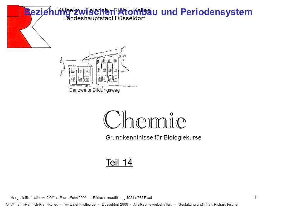 2 Von einem Element zum anderen nimmt die Protonenanzahl um 1 zu.