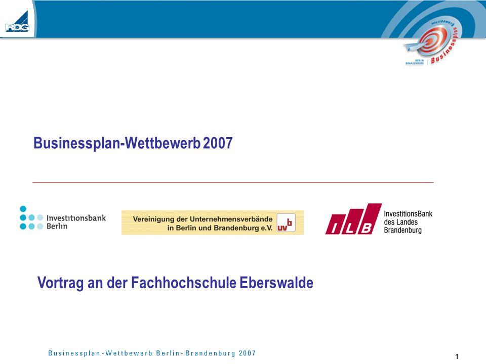 1 Businessplan-Wettbewerb 2007 Vortrag an der Fachhochschule Eberswalde