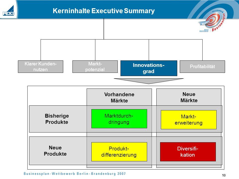 10 Kerninhalte Executive Summary Klarer Kunden- nutzen Markt- potenzial Innovations- grad Profitabilität Vorhandene Märkte Neue Märkte Bisherige Produ