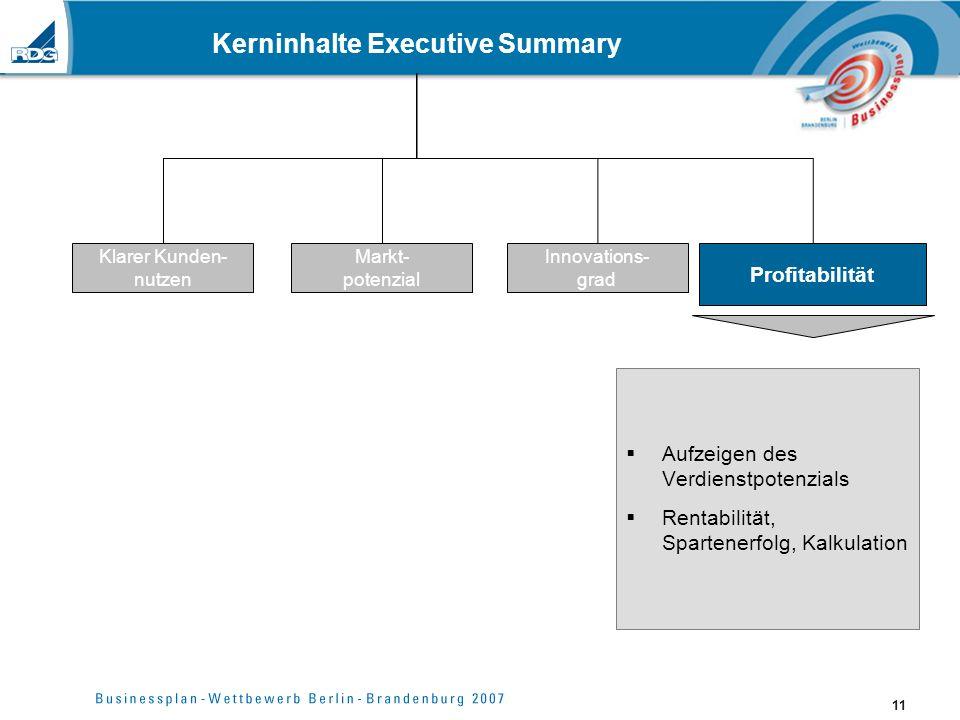 11 Kerninhalte Executive Summary Aufzeigen des Verdienstpotenzials Rentabilität, Spartenerfolg, Kalkulation Klarer Kunden- nutzen Markt- potenzial Inn