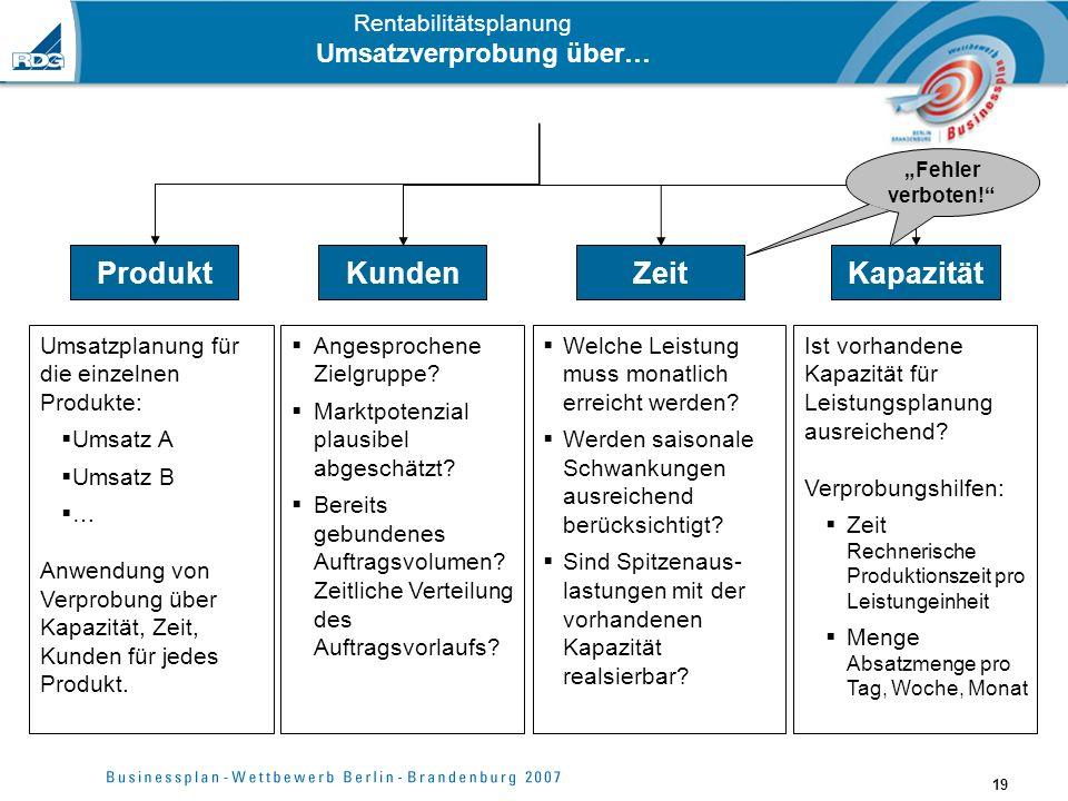 19 Rentabilitätsplanung Umsatzverprobung über… Produkt Umsatzplanung für die einzelnen Produkte: Umsatz A Umsatz B … Anwendung von Verprobung über Kap
