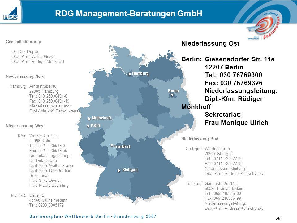 26 RDG Management-Beratungen GmbH Geschäftsführung: Dr. Dirk Deppe Dipl.-Kfm. Walter Gräwe Dipl.-Kfm. Rüdiger Mönkhoff Niederlassung Nord Hamburg Arnd