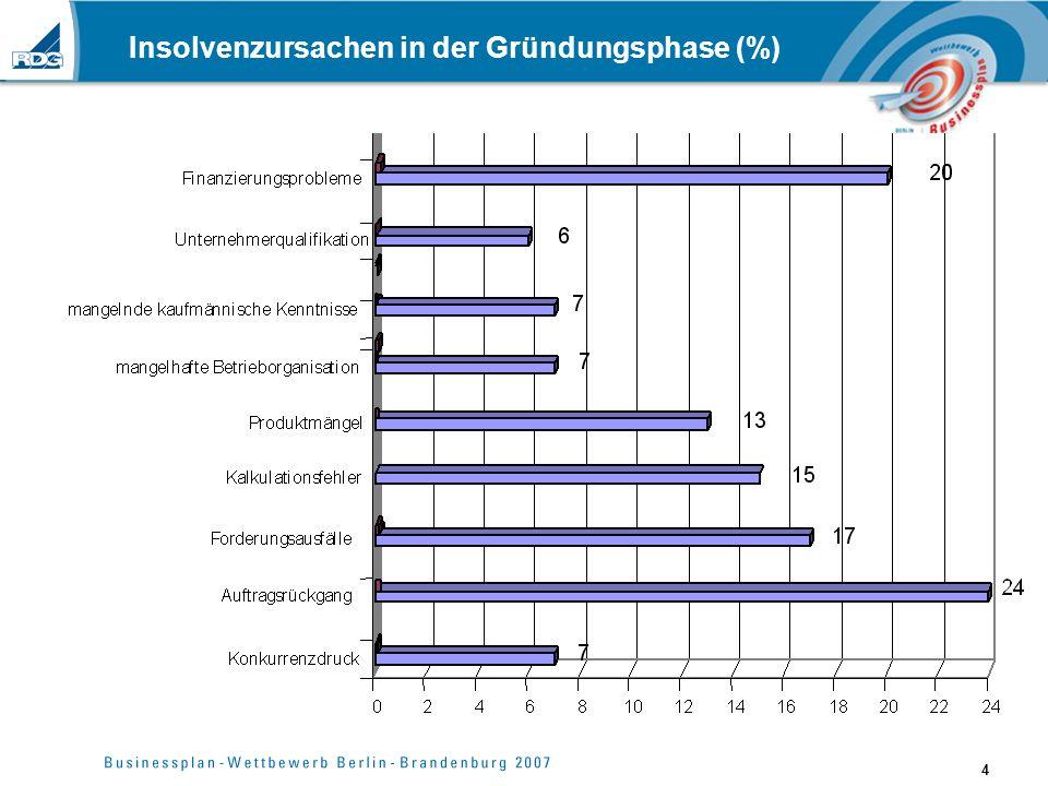 4 Insolvenzursachen in der Gründungsphase (%)