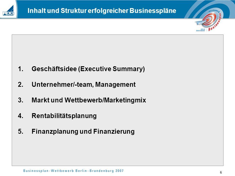6 Inhalt und Struktur erfolgreicher Businesspläne 1.Geschäftsidee (Executive Summary) 2.Unternehmer/-team, Management 3.Markt und Wettbewerb/Marketing