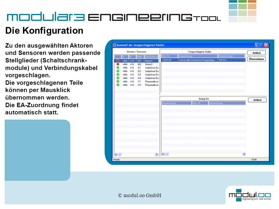 © modul.oo GmbH14 Die Konfiguration Zu den ausgewählten Aktoren und Sensoren werden passende Stellglieder (Schaltschrank- module) und Verbindungskabel