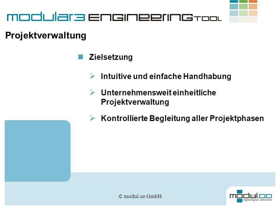 © modul.oo GmbH19 Projektverwaltung Zielsetzung Intuitive und einfache Handhabung Unternehmensweit einheitliche Projektverwaltung Kontrollierte Beglei