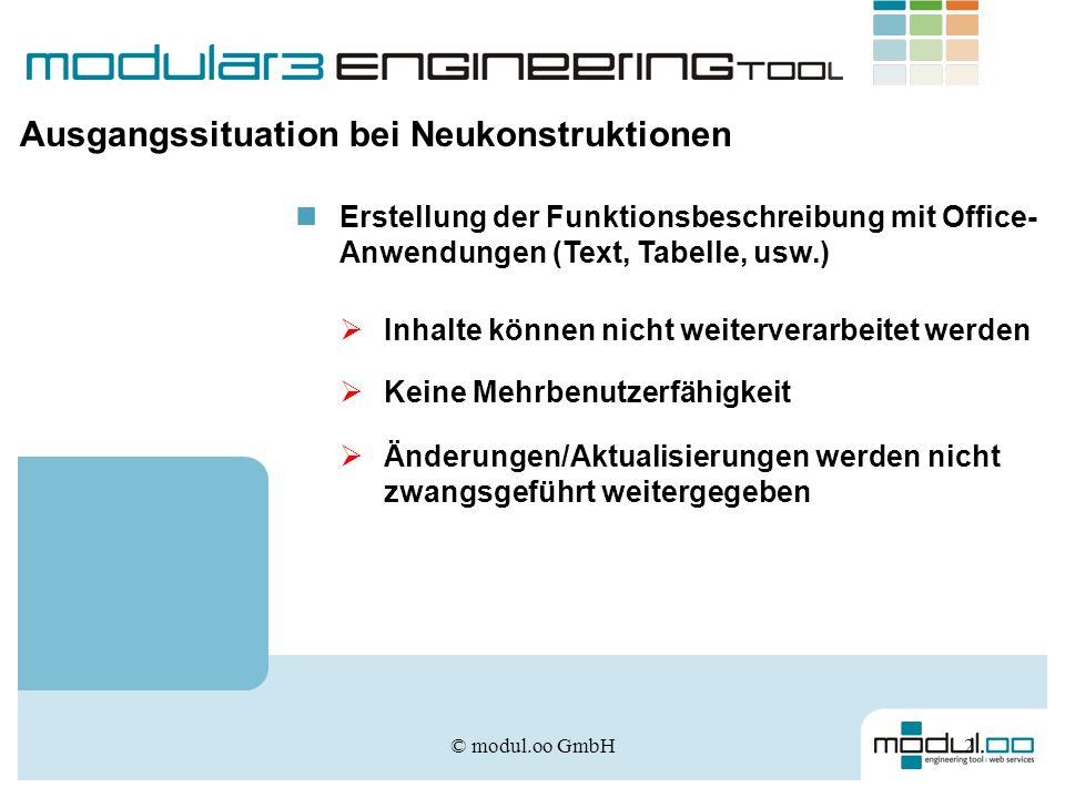 © modul.oo GmbH2 Ausgangssituation bei Neukonstruktionen Erstellung der Funktionsbeschreibung mit Office- Anwendungen (Text, Tabelle, usw.) Inhalte kö
