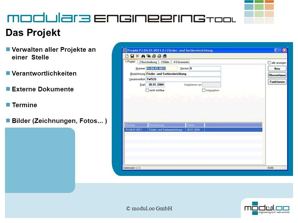 © modul.oo GmbH20 Verwalten aller Projekte an einer Stelle Verantwortlichkeiten Externe Dokumente Termine Bilder (Zeichnungen, Fotos... ) Das Projekt