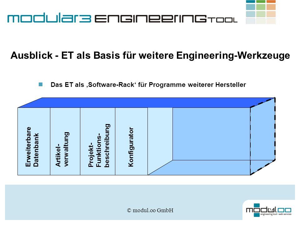 © modul.oo GmbH26 Ausblick - ET als Basis für weitere Engineering-Werkzeuge Das ET als Software-Rack für Programme weiterer Hersteller Erweiterbare Da