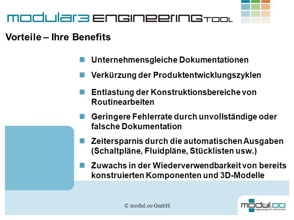© modul.oo GmbH28 Vorteile – Ihre Benefits Unternehmensgleiche Dokumentationen Verkürzung der Produktentwicklungszyklen Entlastung der Konstruktionsbe