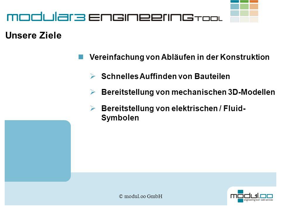© modul.oo GmbH6 Teileverwaltung Aufbau von Funktionsbeschreibungen CAD-Ausgabe Konfiguration Projektverwaltung Die Lösung – modular3 engineering tool