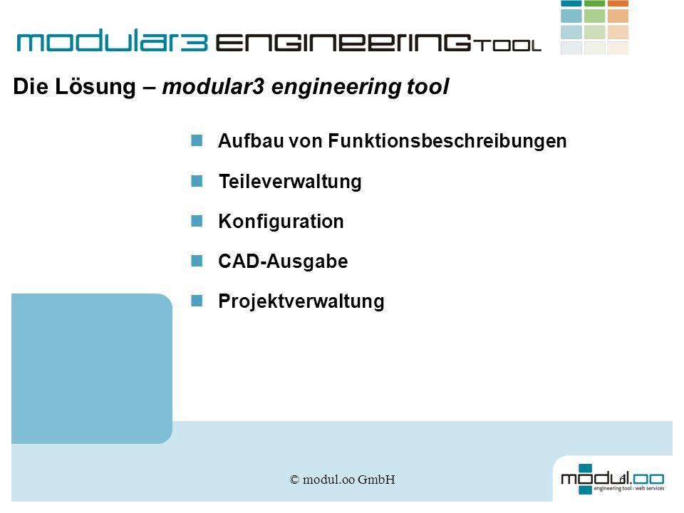 © modul.oo GmbH7 Der Aufbau einer Funktionsbeschreibung Einheitlicher Aufbau von Funktionsbeschreibungen Gemeinsamer Zugriff aller Beteiligten auf das aktuelle Dokument Alle Daten sind verfügbar und können weiter verarbeitet werden