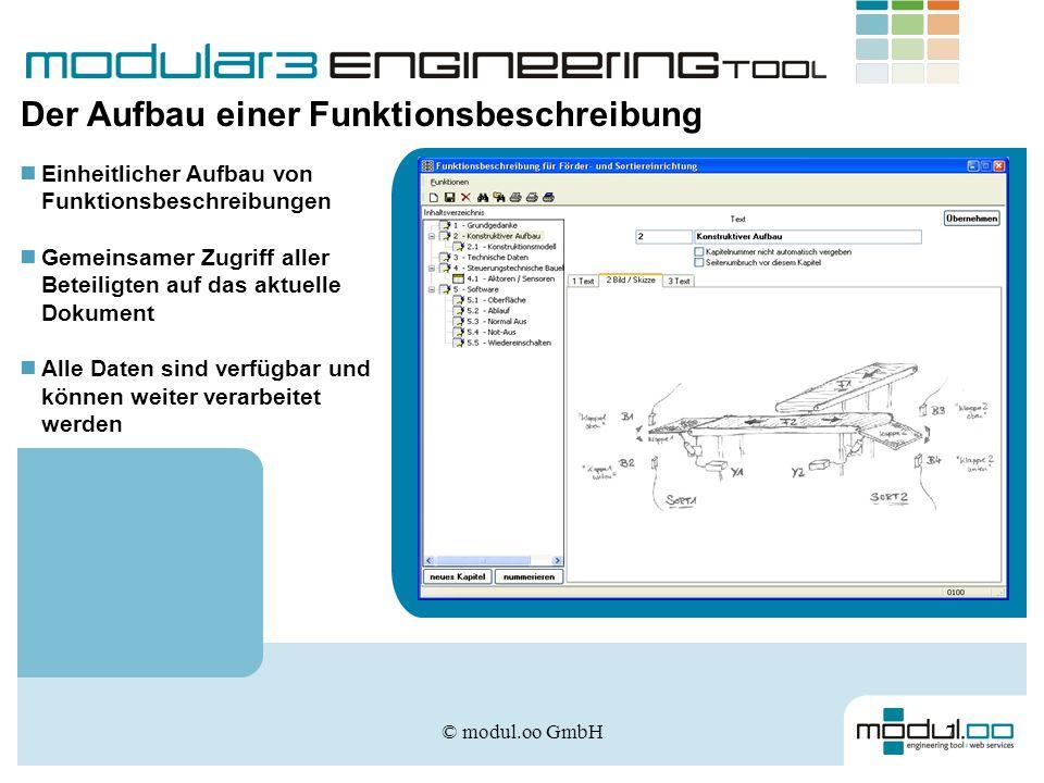 © modul.oo GmbH7 Der Aufbau einer Funktionsbeschreibung Einheitlicher Aufbau von Funktionsbeschreibungen Gemeinsamer Zugriff aller Beteiligten auf das