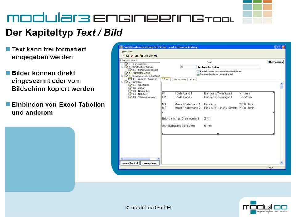 © modul.oo GmbH8 Der Kapiteltyp Text / Bild Text kann frei formatiert eingegeben werden Bilder können direkt eingescannt oder vom Bildschirm kopiert w