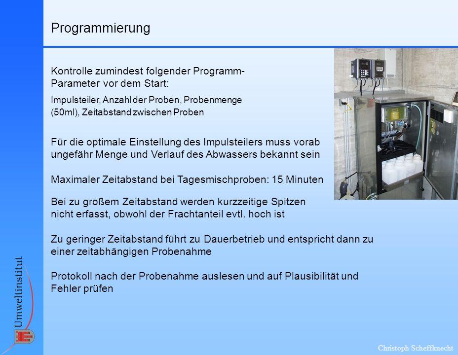 Christoph Scheffknecht Programmierung Für die optimale Einstellung des Impulsteilers muss vorab ungefähr Menge und Verlauf des Abwassers bekannt sein