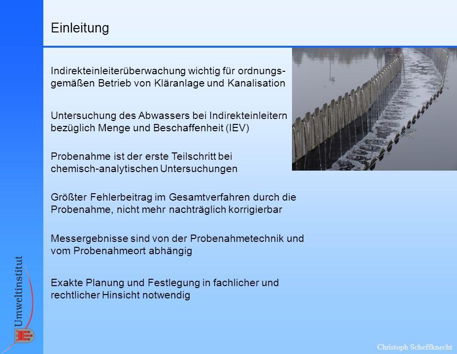 Christoph Scheffknecht Einleitung Untersuchung des Abwassers bei Indirekteinleitern bezüglich Menge und Beschaffenheit (IEV) Größter Fehlerbeitrag im