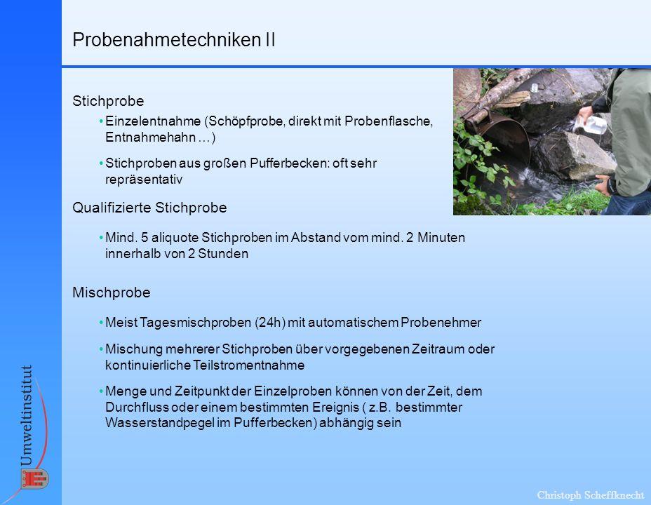 Christoph Scheffknecht Probenahmetechniken II Qualifizierte Stichprobe Stichprobe Einzelentnahme (Schöpfprobe, direkt mit Probenflasche, Entnahmehahn
