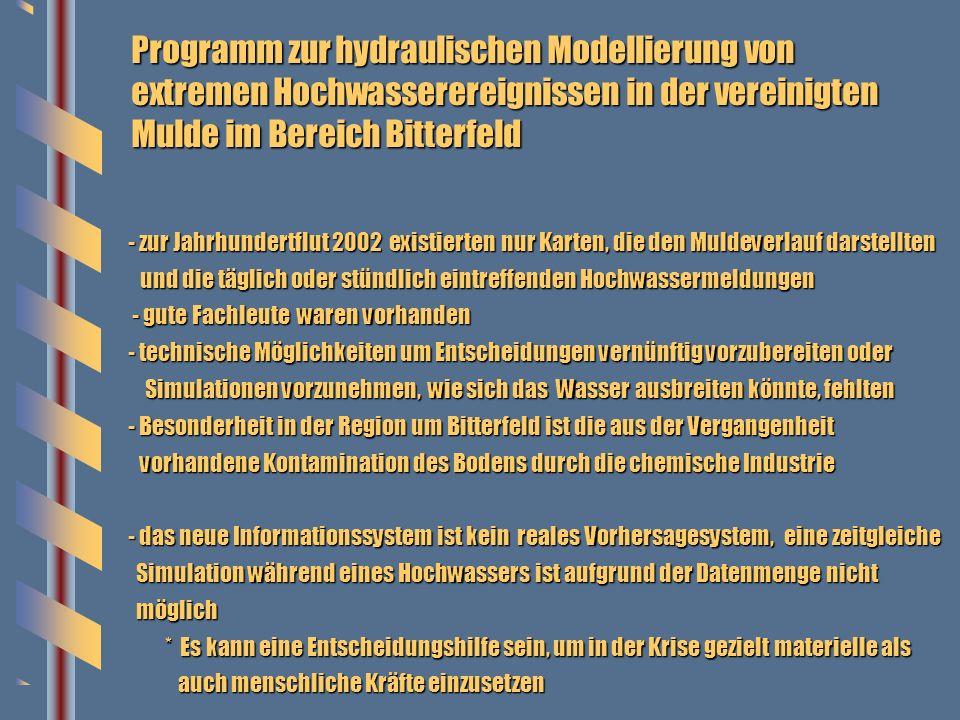 Programm zur hydraulischen Modellierung von extremen Hochwasserereignissen in der vereinigten Mulde im Bereich Bitterfeld - zur Jahrhundertflut 2002 e
