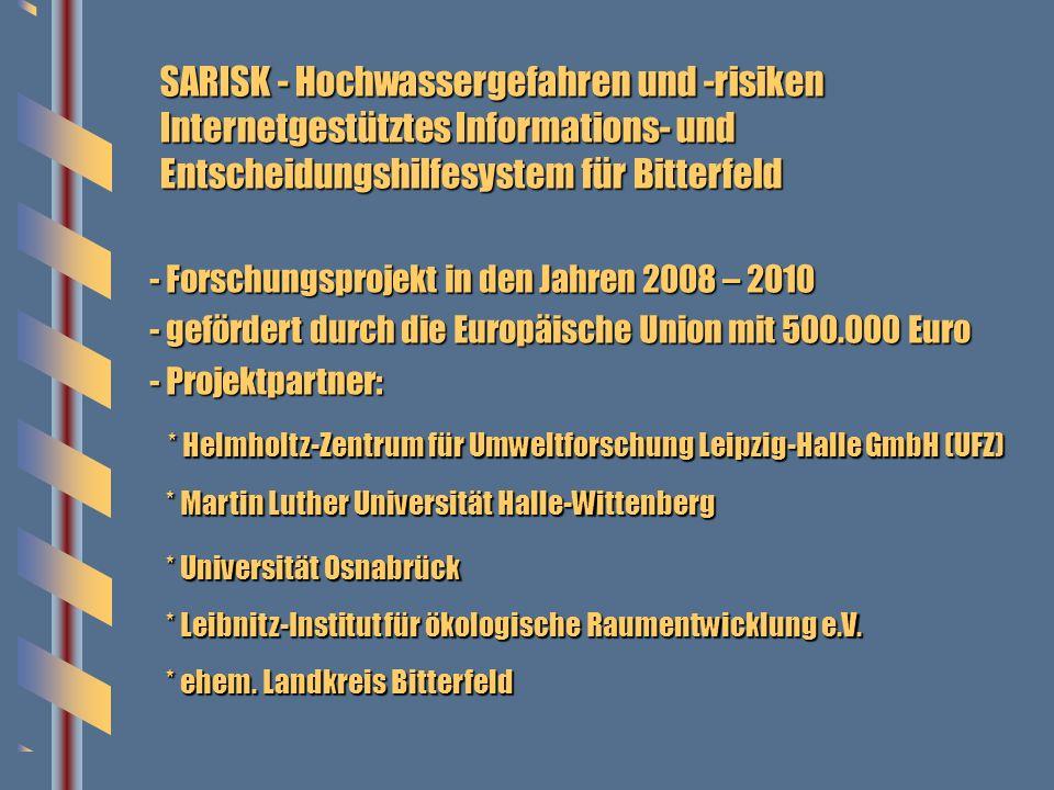 SARISK - Hochwassergefahren und -risiken Internetgestütztes Informations- und Entscheidungshilfesystem für Bitterfeld - Forschungsprojekt in den Jahre