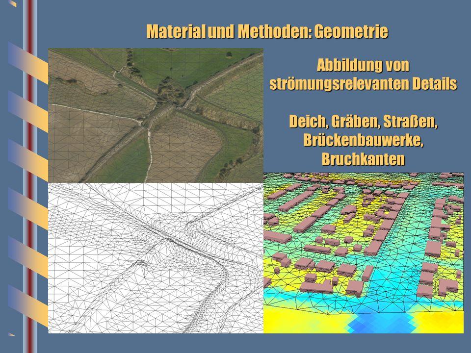 Material und Methoden: Geometrie Abbildung von strömungsrelevanten Details Deich, Gräben, Straßen, Brückenbauwerke, Bruchkanten