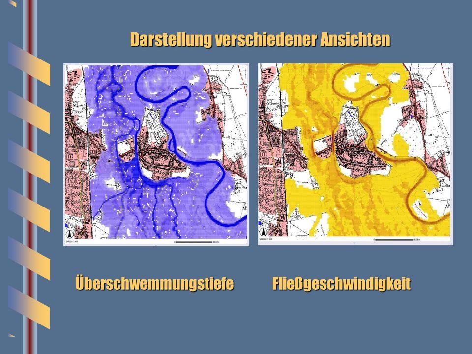 Darstellung verschiedener Ansichten ÜberschwemmungstiefeFließgeschwindigkeit