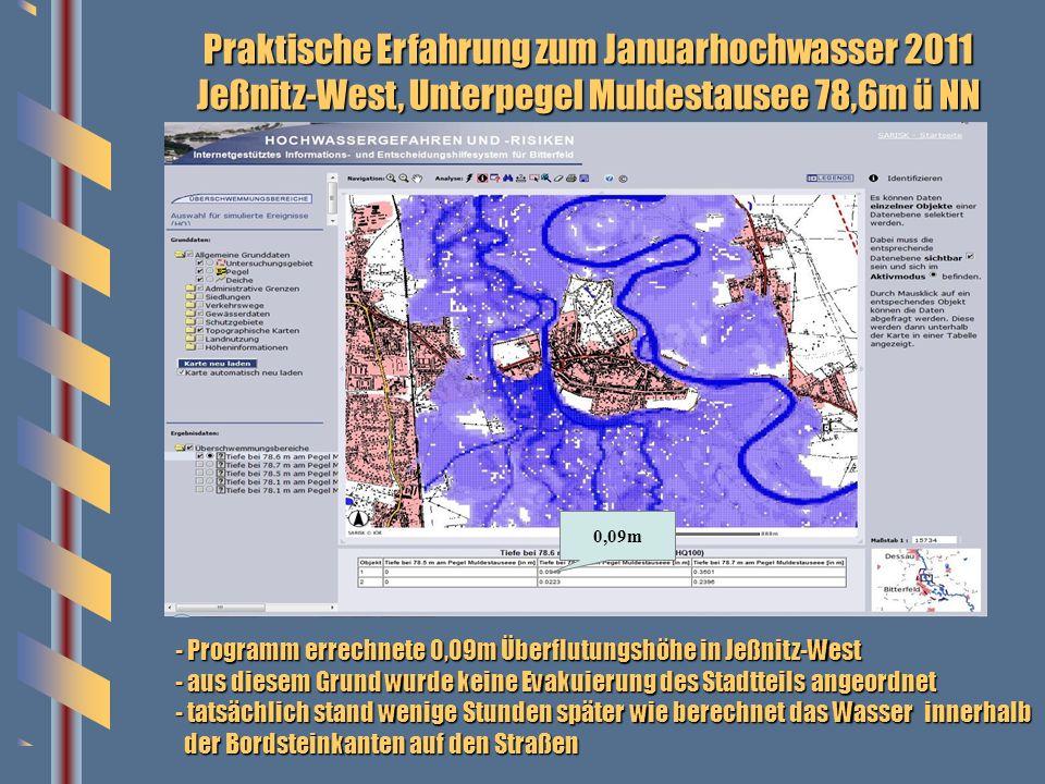 Praktische Erfahrung zum Januarhochwasser 2011 Jeßnitz-West, Unterpegel Muldestausee 78,6m ü NN 0,09m - Programm errechnete 0,09m Überflutungshöhe in