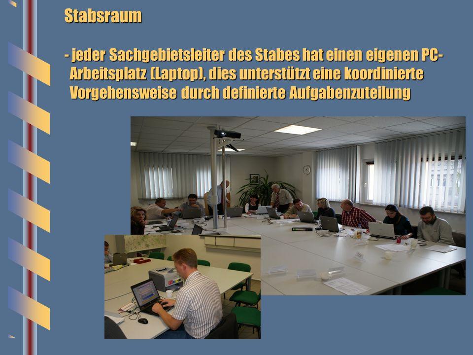Stabsraum - jeder Sachgebietsleiter des Stabes hat einen eigenen PC- Arbeitsplatz (Laptop), dies unterstützt eine koordinierte Vorgehensweise durch de