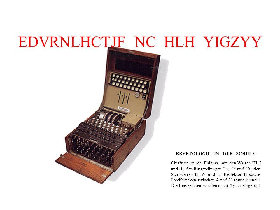 EDVRNLHCTJF NC HLH YIGZYY Chiffriert durch Enigma mit den Walzen III, I und II, den Ringstellungen 23, 24 und 20, den Startwerten B, W und E, Reflektor B sowie Steckbrücken zwischen A und M sowie E und T Die Leerzeichen wurden nachträglich eingefügt.