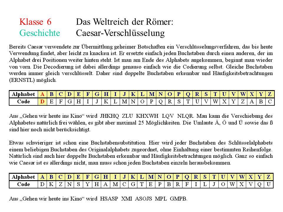 Klasse 6Das Weltreich der Römer: GeschichteCaesar-Verschlüsselung