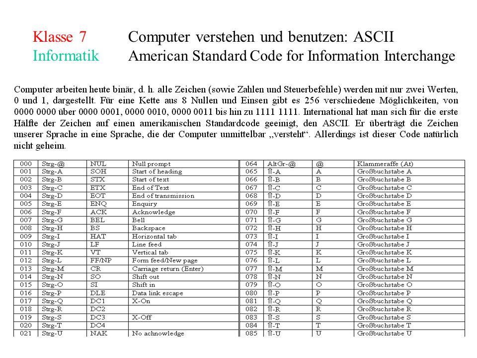 Klasse 7Computer verstehen und benutzen: ASCII Informatik American Standard Code for Information Interchange