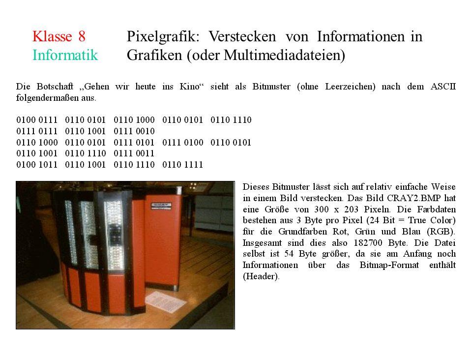 Klasse 8Pixelgrafik: Verstecken von Informationen in InformatikGrafiken (oder Multimediadateien)
