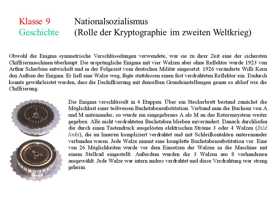 Klasse 9Nationalsozialismus Geschichte (Rolle der Kryptographie im zweiten Weltkrieg)