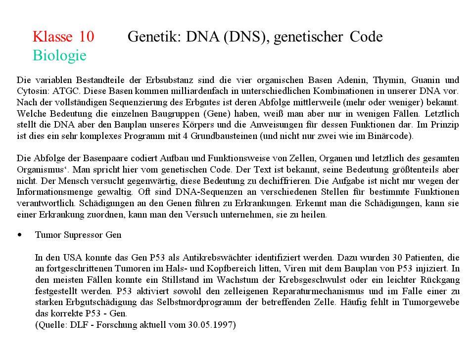 Klasse 10Genetik: DNA (DNS), genetischer Code Biologie
