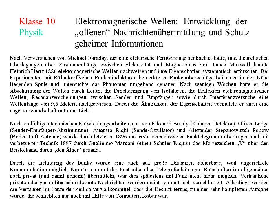 Klasse 10Elektromagnetische Wellen: Entwicklung der Physikoffenen Nachrichtenübermittlung und Schutz geheimer Informationen