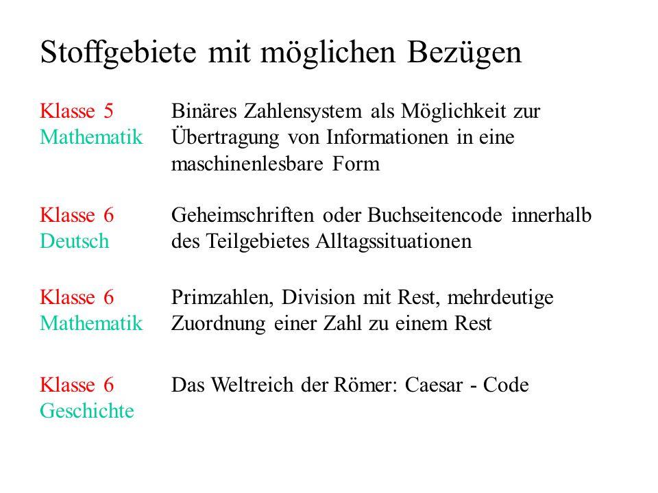 Materialien http://www.et.htwk-leipzig.de/kontakte/Fechner/kurs/kryptoworkshop.htm Programm zur Darstellung von Texten als Bitmuster