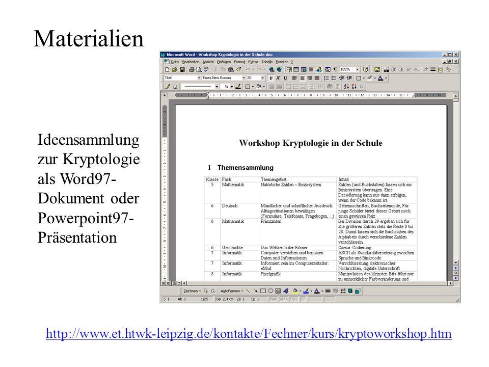 Materialien http://www.et.htwk-leipzig.de/kontakte/Fechner/kurs/kryptoworkshop.htm Ideensammlung zur Kryptologie als Word97- Dokument oder Powerpoint97- Präsentation