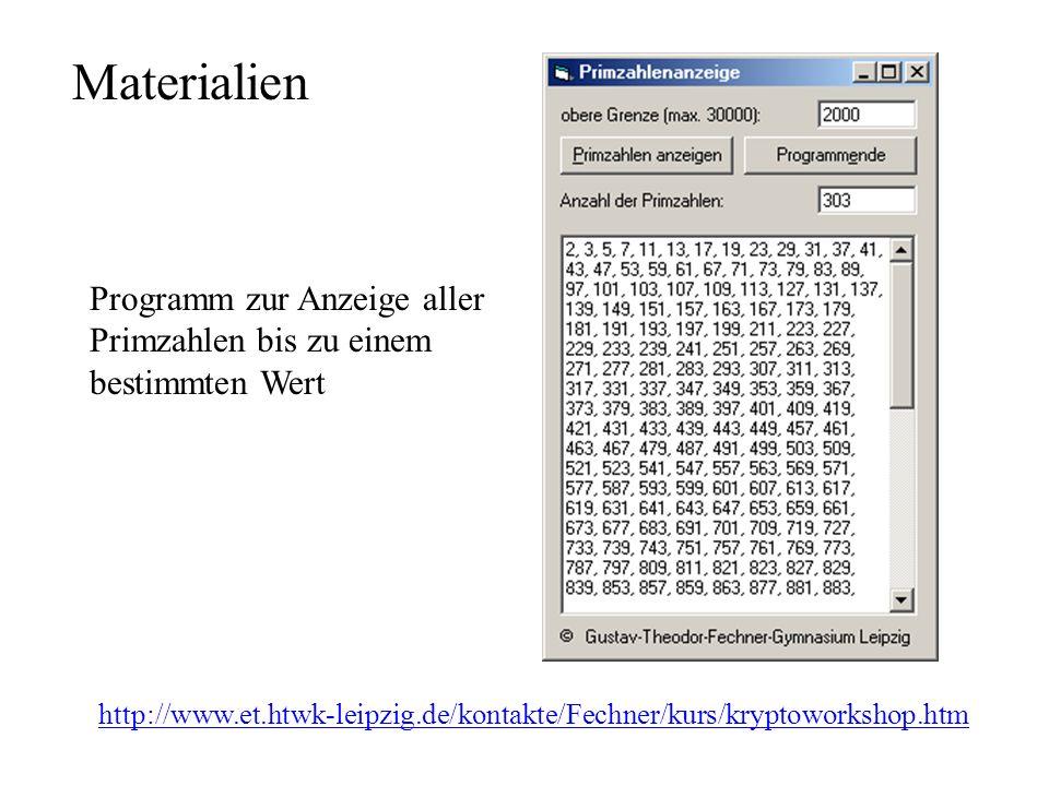 Materialien http://www.et.htwk-leipzig.de/kontakte/Fechner/kurs/kryptoworkshop.htm Programm zur Anzeige aller Primzahlen bis zu einem bestimmten Wert