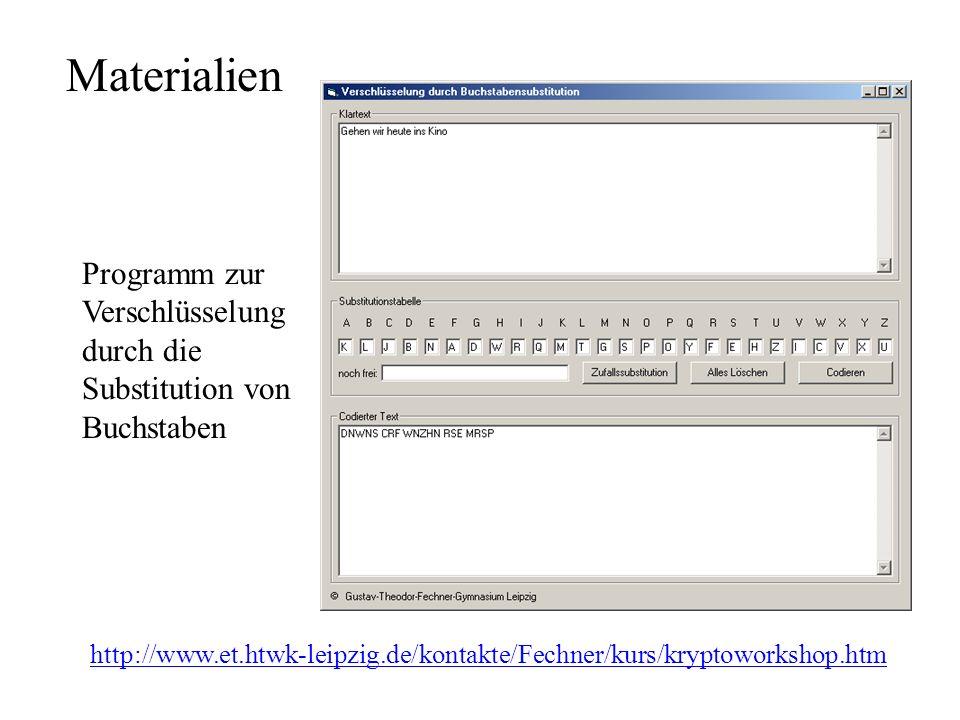 Materialien http://www.et.htwk-leipzig.de/kontakte/Fechner/kurs/kryptoworkshop.htm Programm zur Verschlüsselung durch die Substitution von Buchstaben