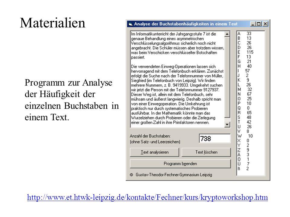 Materialien http://www.et.htwk-leipzig.de/kontakte/Fechner/kurs/kryptoworkshop.htm Programm zur Analyse der Häufigkeit der einzelnen Buchstaben in einem Text.