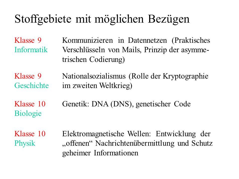 Stoffgebiete mit möglichen Bezügen Klasse 9Kommunizieren in Datennetzen (Praktisches InformatikVerschlüsseln von Mails, Prinzip der asymme- trischen C
