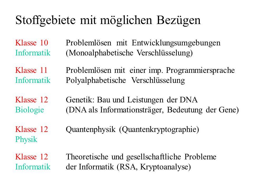 Stoffgebiete mit möglichen Bezügen Klasse 10Problemlösen mit Entwicklungsumgebungen Informatik(Monoalphabetische Verschlüsselung) Klasse 11Problemlöse