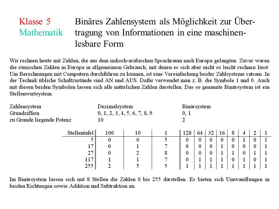 Klasse 5Binäres Zahlensystem als Möglichkeit zur Über- Mathematiktragung von Informationen in eine maschinen- lesbare Form