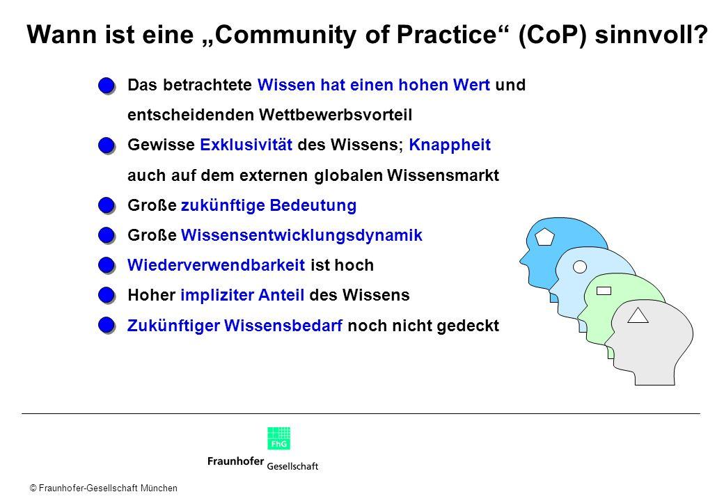© Fraunhofer-Gesellschaft München Wann ist eine Community of Practice (CoP) sinnvoll? Das betrachtete Wissen hat einen hohen Wert und entscheidenden W