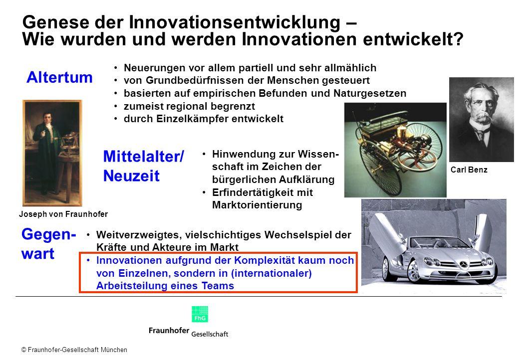© Fraunhofer-Gesellschaft München Genese der Innovationsentwicklung – Wie wurden und werden Innovationen entwickelt? Altertum Neuerungen vor allem par