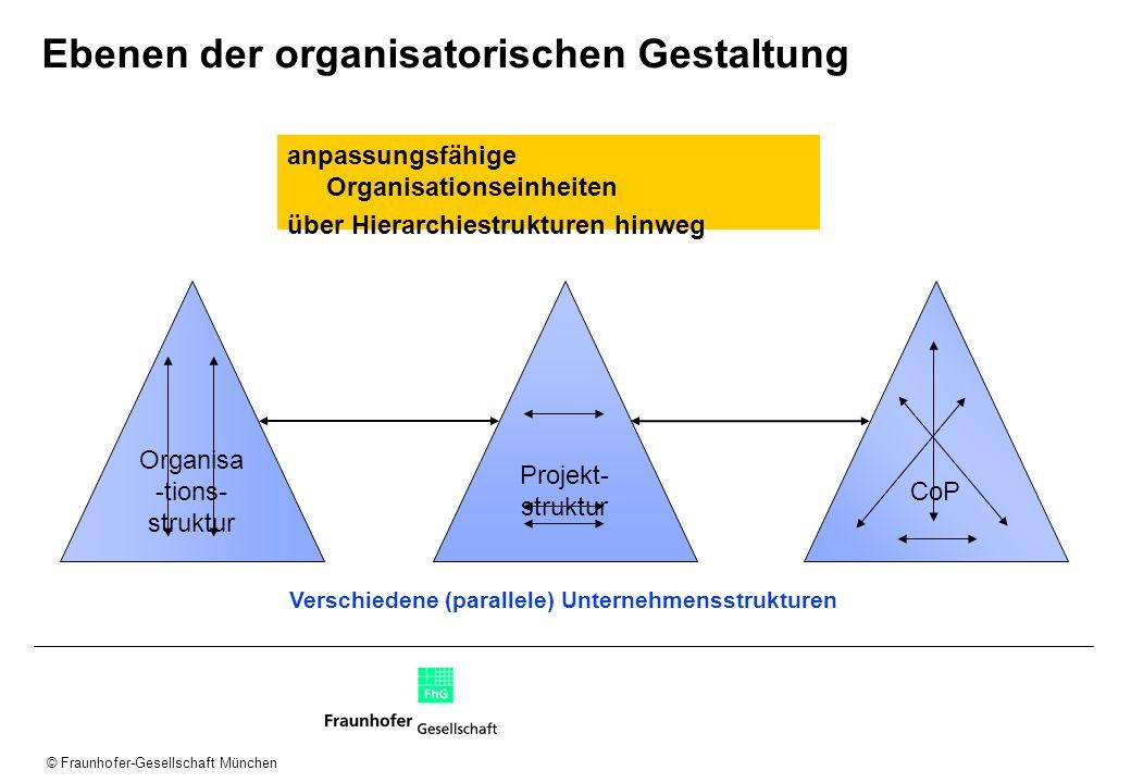 © Fraunhofer-Gesellschaft München Ebenen der organisatorischen Gestaltung anpassungsfähige Organisationseinheiten über Hierarchiestrukturen hinweg Org