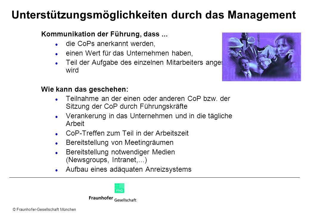 © Fraunhofer-Gesellschaft München Unterstützungsmöglichkeiten durch das Management Kommunikation der Führung, dass... die CoPs anerkannt werden, einen
